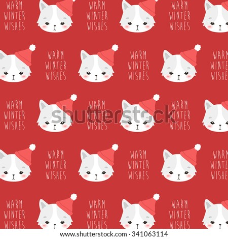 Cute Winter Pattern With Cartoon Arctic Fox In Hat Warm Wishes Text Message On