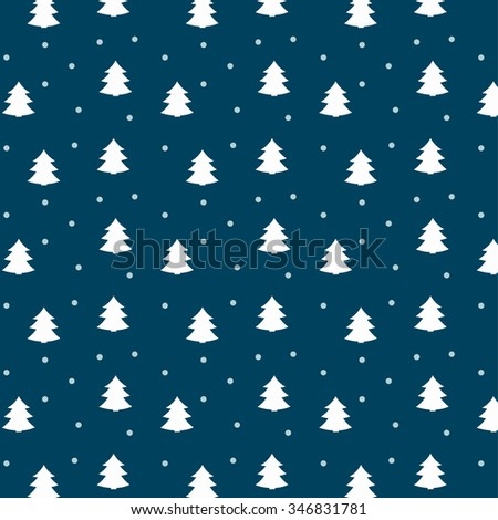 Cute Winter Pattern with Christmas Trees - stock vector