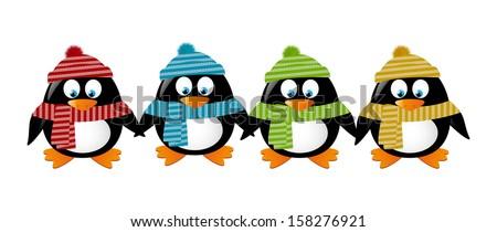 Cute winter penguins holding hands - stock vector