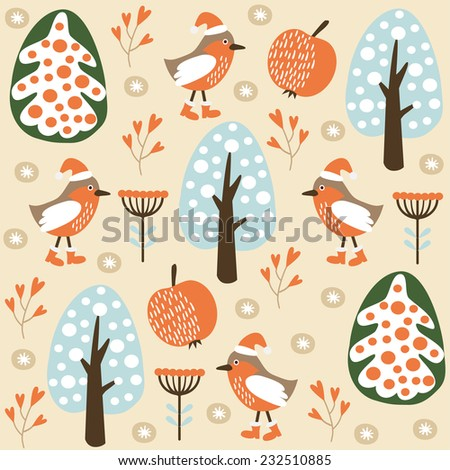 Cute winter seamless pattern with birds in the forest, vector illustration background - stock vector