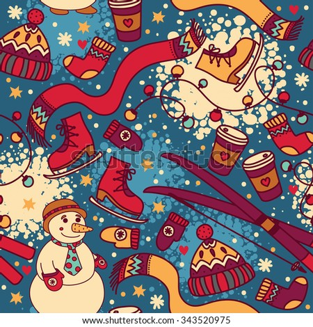 cute winter seamless pattern with snowman and ski, vector illustration