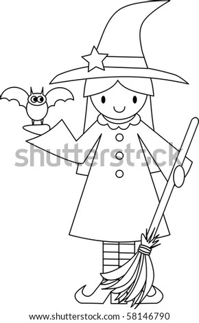 Cute Witch with Bat and Broom - stock vector