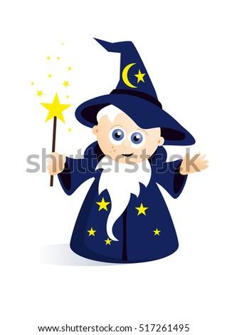 boy wearing wizard costume holding magic stock vector 729038380