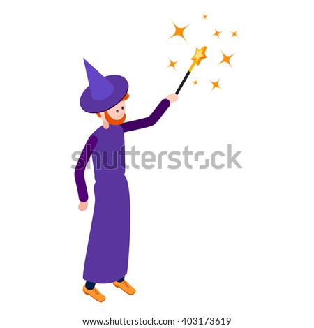Cute wizard casts a spell using a magic wand. Wizard isolated on white background. Isometric icon of wizard. Vector illustration. - stock vector