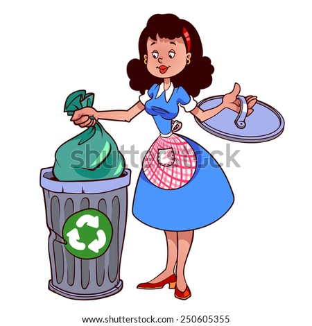 Cute woman in apron throwing garbage in dustbin. Vector illustration on a white background.