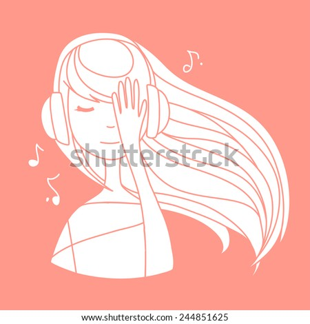 Cute woman listening to the music with closed eyes and pink headphones. Vector abstract illustration  - stock vector