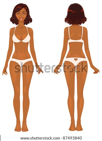 Cute woman's body front and back. Picture demonstrates female body proportions. Beautiful dark skin young female. - stock vector