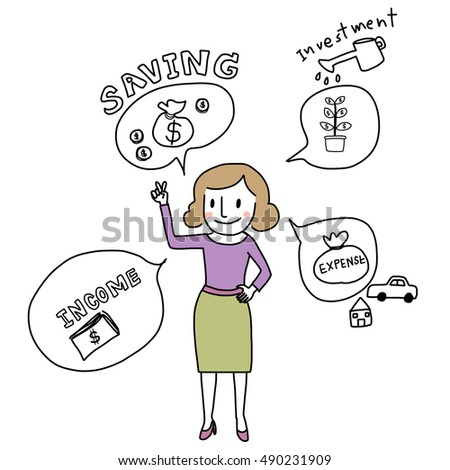 Cute woman standing with her financial plan details such as his income saving, investment, expense. vector illustration.