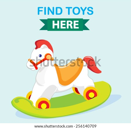cute wooden rocking toy horse banner - stock vector