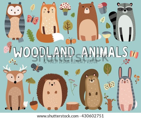 Cute Woodland Animals and Forest Design Elements Vector - stock vector