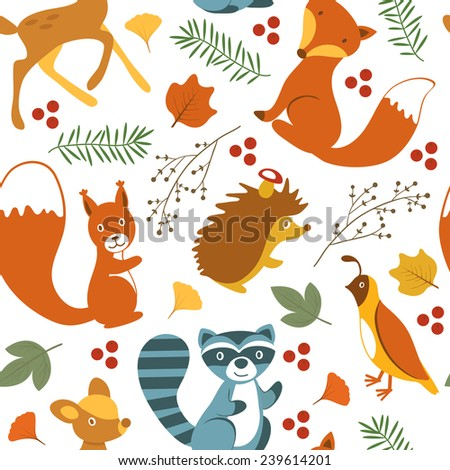 Cute woodland animals seamless pattern. vector illustration - stock vector