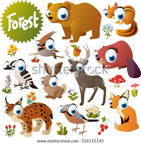 cute woodland forest animals and birds for children apps or books: bear, waxwing, chipmunk, beaver, deer, hare, fox, jay, lynx and woodpecker