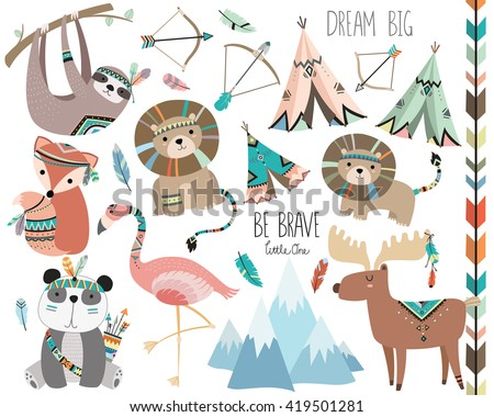 Cute Woodland Tribal Animals Volume 3