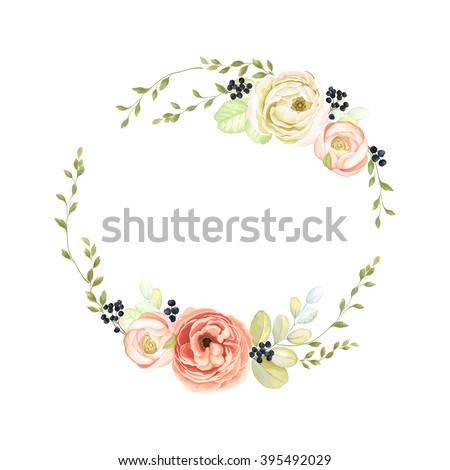 Cute wreath with green branches, ranunculus, wild Privet Berry and leaf, vector illustration in vintage watercolor style. - stock vector
