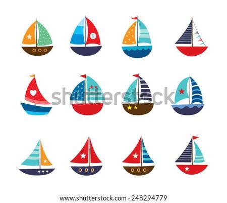 cute yacht vector illustration - stock vector