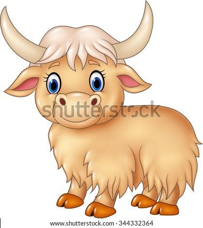 cute yak animal isolated on white stock vector 344332364