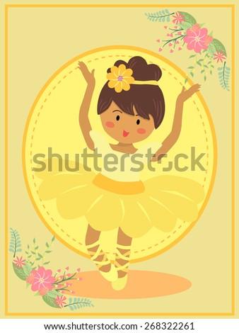 Cute Yellow Ballerina Girl. Ballerina girl with yellow dress tutu dancing ballet in yellow theme background. - stock vector