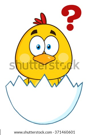 Cute Yellow Chick Cartoon Character Hatching From An Egg With Question Mark. Vector Illustration Isolated On White - stock vector