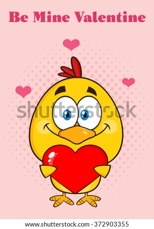 Cute Yellow Chick Cartoon Character Holding A Valentine Love Heart. Vector Illustration Isolated Greeting Card - stock vector