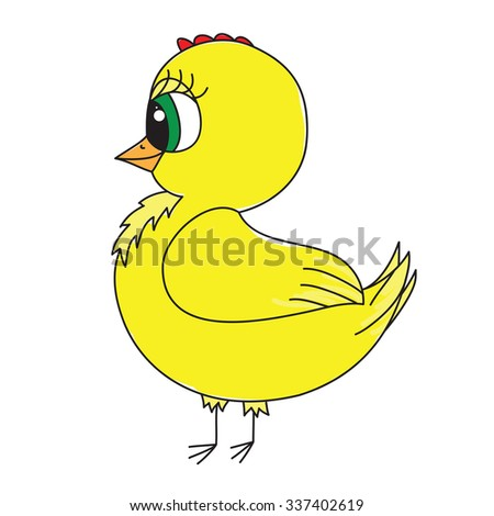 Cute yellow chick on a white background. Vector - stock vector