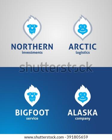 Cute Yeti Face Original Symbols. Memorable Visual Metaphor. Bigfoot Simple, Solid & Bold Mark. Represents the Concept of North, Alaska, Arctic Cold, Chill, Winter Sports, Ice, Power etc. - stock vector