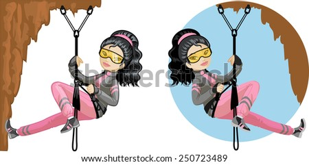 Cute young Asian woman mountaineer climbs rock in professional equipment vector illustration in cartoon and flat design style  - stock vector