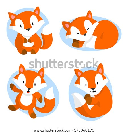 Cute baby fox | Stock Vector | Colourbox  |Vector Cute Baby Fox