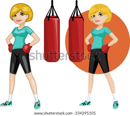 Cute young Caucasian woman boxer vector illustration in cartoon and flat design style - stock vector
