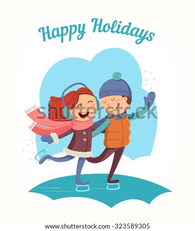Cute young couple boy and girl at ice skating. Greeting card or poster for Christmas and New Year. Vector illustration.  - stock vector