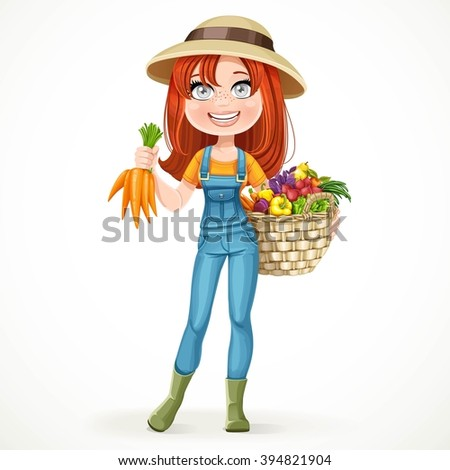 Cute Young Farmer Girl Big Basket Stock Vector 394821904 ...