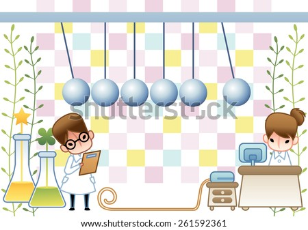 Cute young female and male Scientist examine with laboratory equipment and liquid sample in the chemical research lab on white background with green leaves and square patterns : vector illustration - stock vector