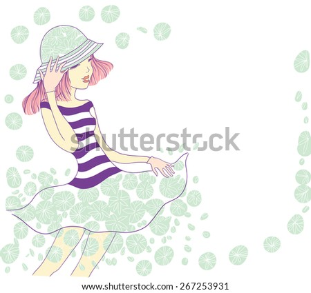 cute young girl holding a hat and laughs. vector illustration.