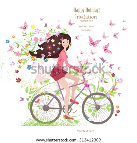 Cute young girl on a bike with butterflies and flowers - stock vector