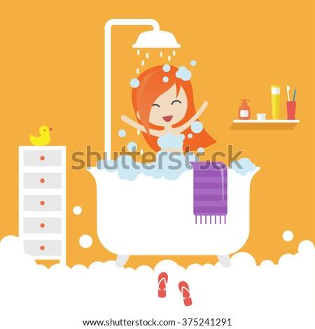 take shower stock vectors vector clip art shutterstock. Black Bedroom Furniture Sets. Home Design Ideas