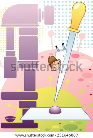 Cute young male Scientist examine with laboratory equipment and big yellow dropper in the chemical research lab on white background with dot and flu virus pattern : vector illustration - stock vector