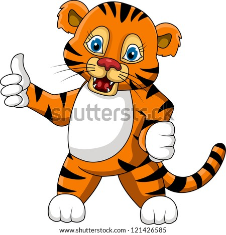 cute young tiger cartoon expression - stock vector