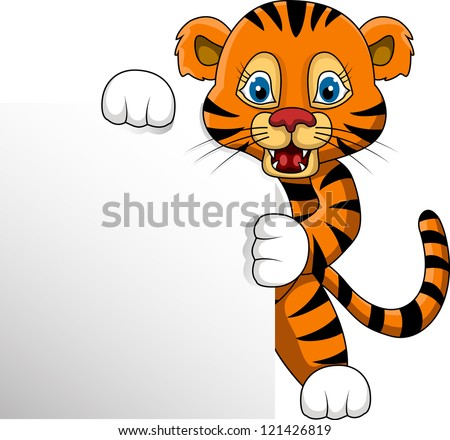 cute young tiger cartoon with blank sign - stock vector