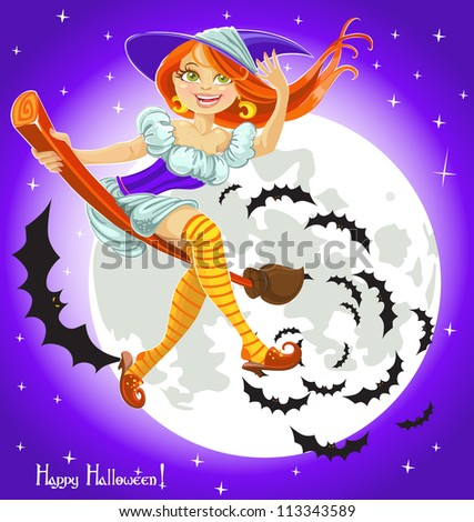 Cute young witch on a broomstick in the night sky with his retinue of bats - stock vector