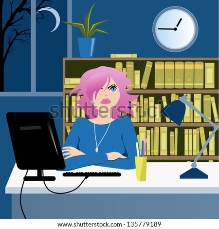 Cute young woman sitting at her desk in the office late at night and looking at the clock - stock vector