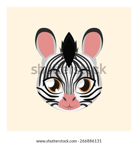 Cute zebra avatar with flat colors - stock vector