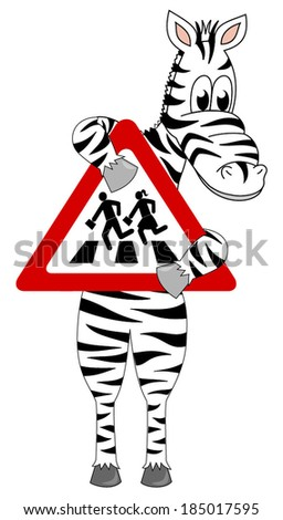 Cute zebra holding up a red triangle sign pedestrian crossing. vector art image illustration, isolated on white background - stock vector