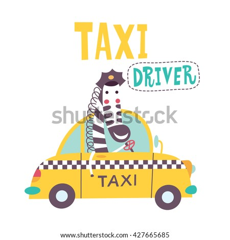 Cute zebra is going by taxi. Vector illustration on a white background.  - stock vector