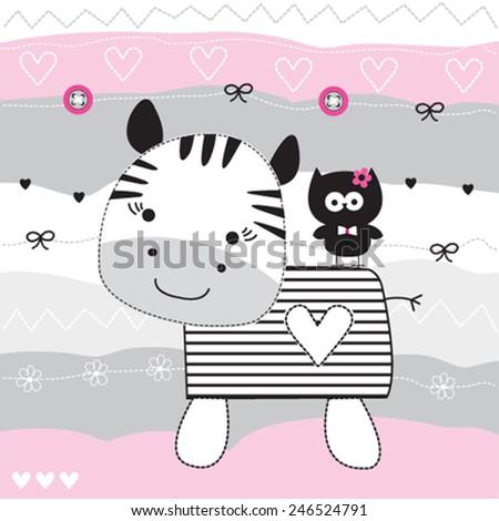 cute zebra with owl vector illustration - stock vector