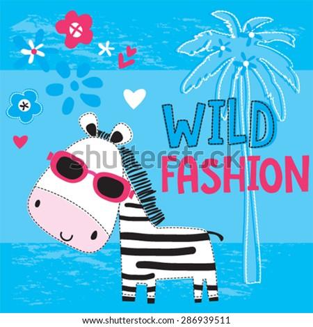 cute zebra with sunglasses, wild fashion for girls, T-shirt design vector illustration - stock vector