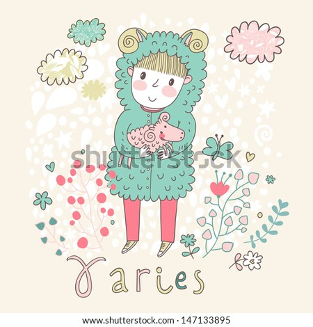 Cute zodiac sign - Aries. Vector illustration. Little boy riding with small ram. Background with flowers and clouds. Doodle hand-drawn style - stock vector