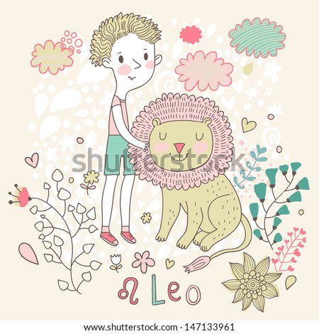Cute zodiac sign - Leo. Vector illustration. Little boy playing with big lion. Background with flowers and clouds. Doodle hand-drawn style - stock vector