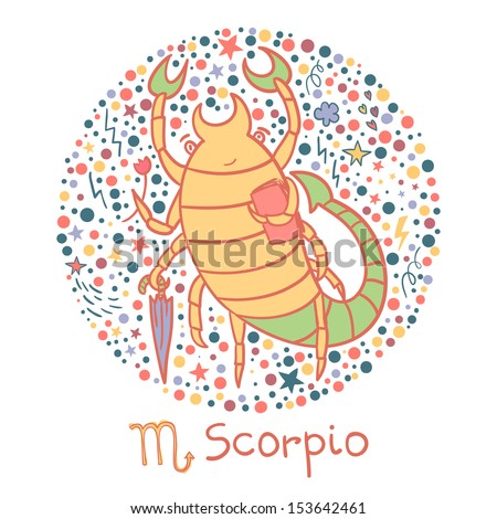 Cute zodiac sign - Scorpio. Vector illustration - stock vector