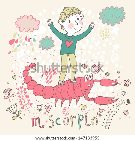 Cute zodiac sign - Scorpio. Vector illustration. Little boy playing with big pink scorpion. Background with flowers and clouds. Doodle hand-drawn style - stock vector