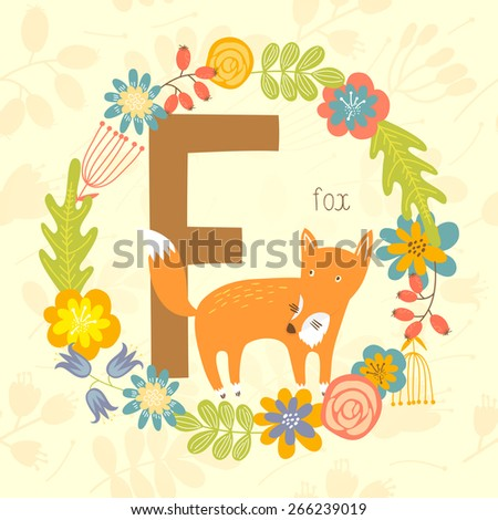 Cute Zoo alphabet, Fox with letter F and floral wreath in vector.  - stock vector