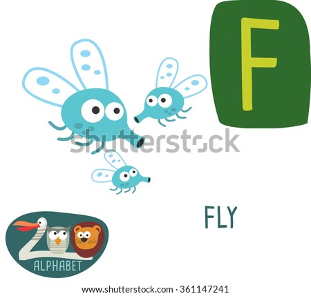 Cute zoo alphabet in vector. F letter for Fly. Funny cartoon animals. Alphabet design in a colorful style.
